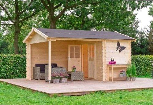 51XYiX5jf+L - Outdoor Gartenhaus / 2-Raum-Blockbohlenhaus Walter 300 Sockelmaß: 427 x 300 cm Dachtsand: 469 x 340 cm Wandstärke: 28 mm Rauminhalt: 18,26 + 9,71 cbm Ausführung: naturbelassen Material: Massivholz